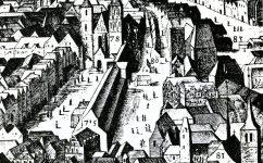 Větší a menší kotce, ve vyrezu z Sadelerova Prospektu, 1606 - Divadlo v Kotcích