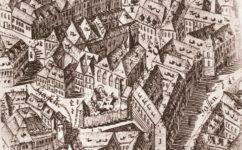 Betlémská kaple na rytině J. D. Hubera z let 1765-1769 -