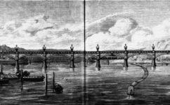 železniční most, pohled ze Žofína -  Světozor 9.7.1875