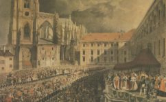 korunovace královny Marie Anny 1836, Kresba Eduard Gurck - Praha očima staletí (1984)